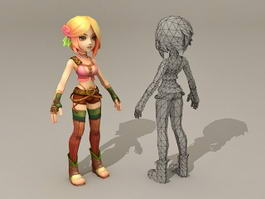 Anime Warrior Girl 3d model