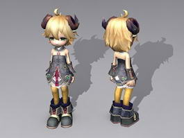 Evil Anime Girl 3d model