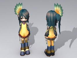 Cute Emo Anime Girl 3d model