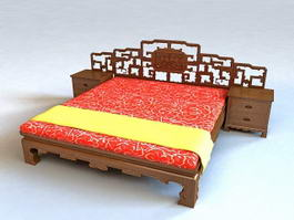 Chinese Style Bed 3d model