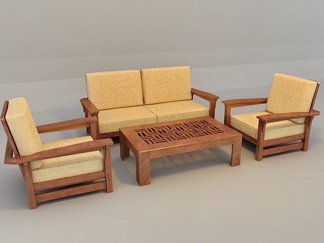 Traditional Sofa Set With Wood Trim 3d Model 3ds Max Files