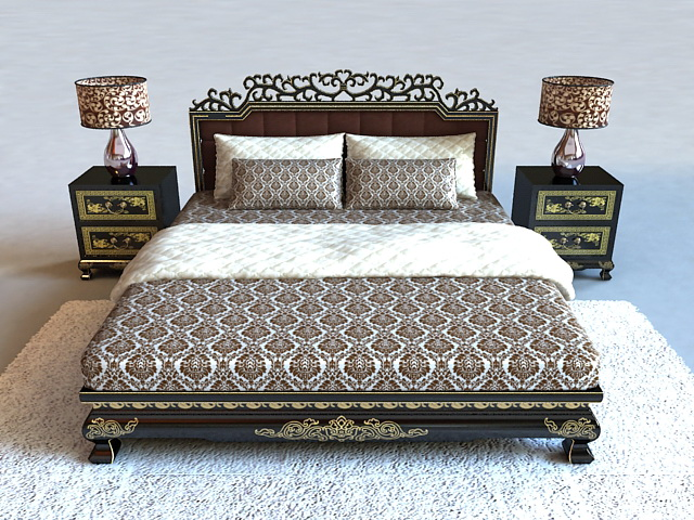 Classic luxury wood bed 3d model 3ds max files free for 3ds max bed model