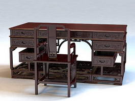 Chinese Antique Writing Desk 3d model
