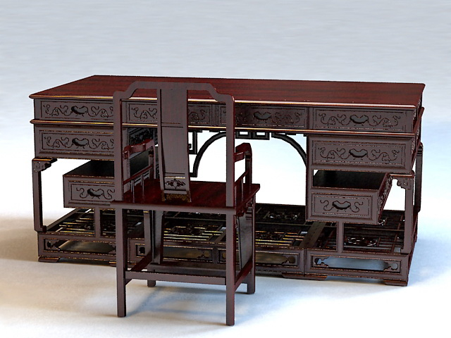 Chinese antique writing desk 3d model 3ds max files free for Asian style desk