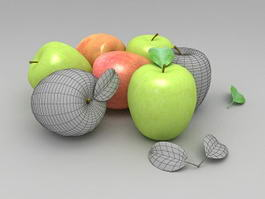 Green and Red Fresh Apples 3d model