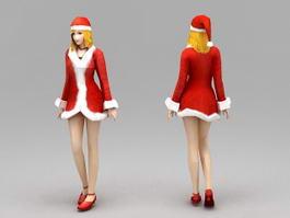 Merry Christmas Girl 3d model