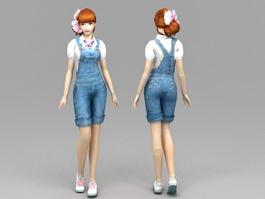 Blue Jeans Girl 3d model