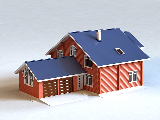 Country House with Detached Garage 3d model