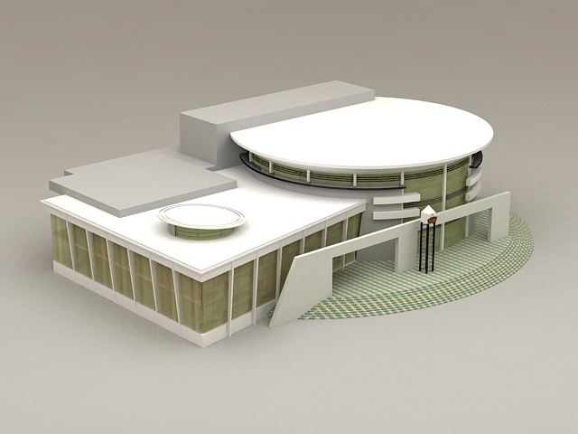 Modern Library Exterior 3d Model 3ds Max Files Free