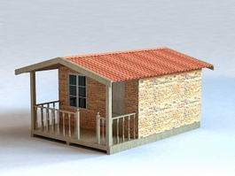 Small Brick Cabin 3d model