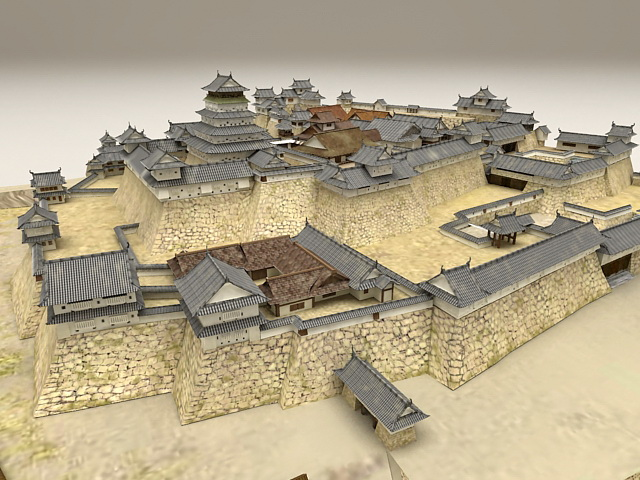 Ancient China Castle 3d Model 3ds Max Files Free Download