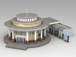 Metro Train Station Exterior 3d model