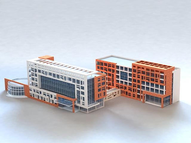 Modern urban hospital buildings 3d model 3ds max files for Modern hospital building design