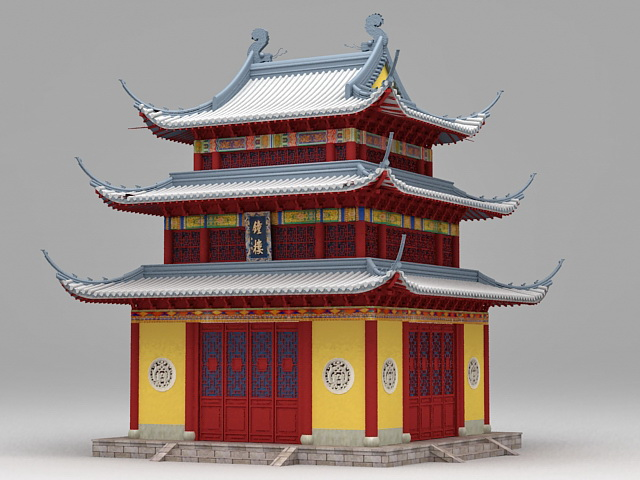 Ancient Chinese Temple 3d Model 3ds Max Files Free