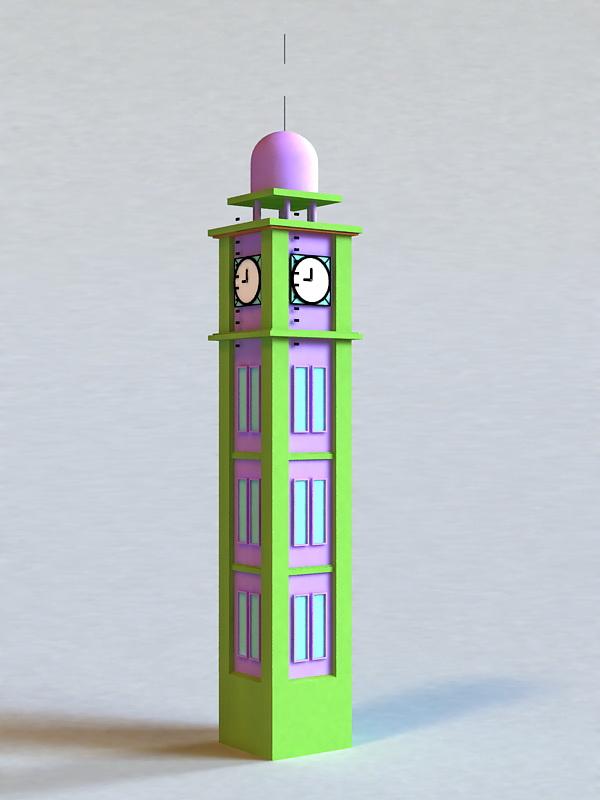 Clock Tower Building 3d model
