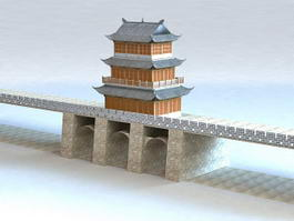 Chinese Ancient City Gate 3d model