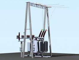 Power Line Transformer 3d model