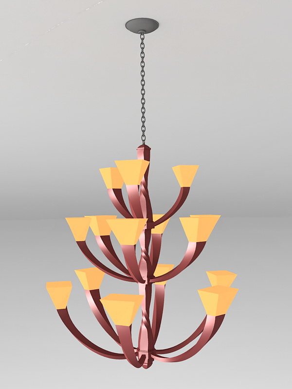 Large Rustic Chandelier 3d model
