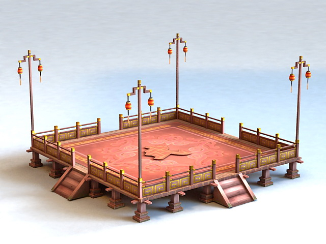 Chinese Martial Arts Fighting Arena 3d model