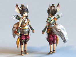 Anime Fox Spirit Girl 3d model