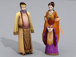 Ancient China Middle Aged Couple 3d model