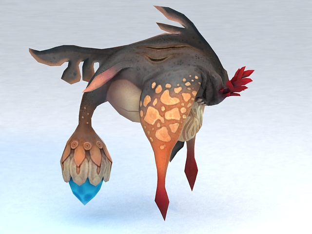 Fish Monster Animated & Rigged 3d rendering