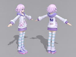 Anime Girl with Pink Hair 3d model