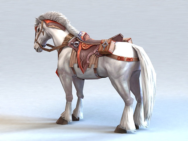 White War Horse 3d Model 3ds Max Files Free Download