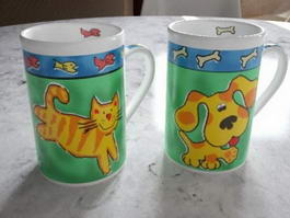 Kitty and Doggy Cups 3d model