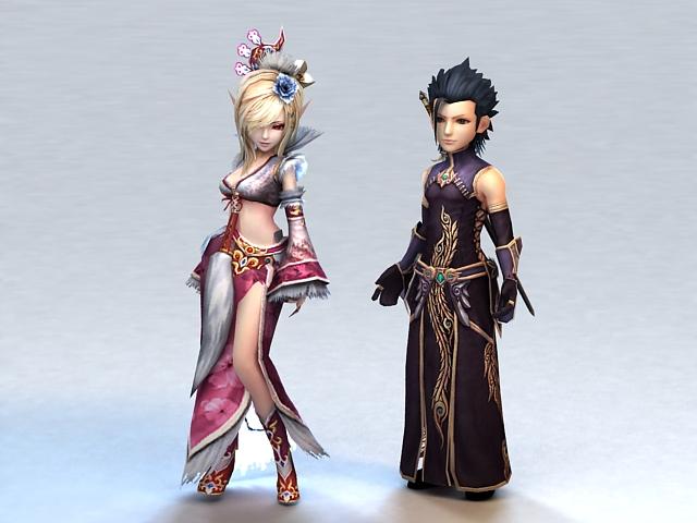 Medieval Anime Warrior Couple 3d model