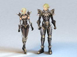 Elf Couple Warriors 3d model