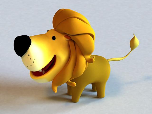 Little Cartoon Lion Rigged 3d Model Autodesk Fbx Maya