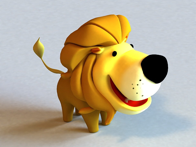 Little Cartoon Lion Rigged 3d model Autodesk FBX,Maya,Object