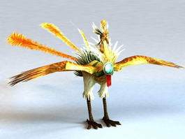 Rainbow Phoenix Bird Rigged 3d model