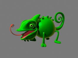 Cartoon Chameleon Rigged 3d model