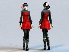 Chinese Fashion Girl 3d model