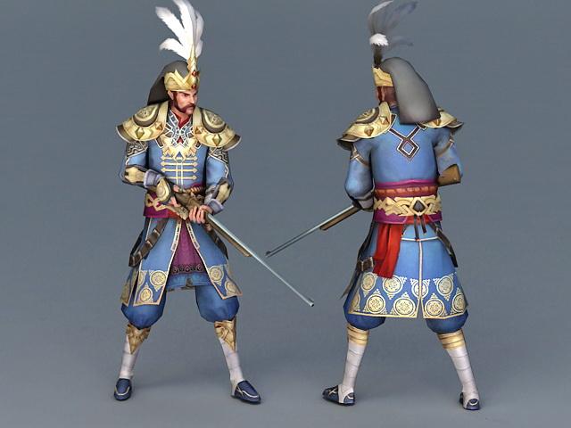 Ancient Korean Musket Soldier 3d model
