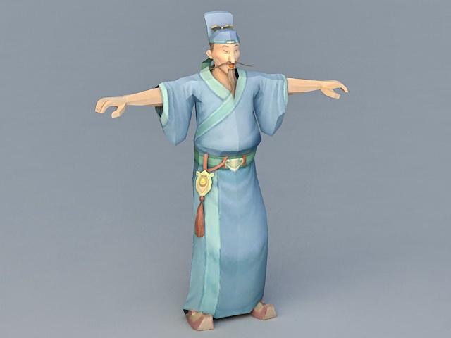 Tang Dynasty Scholar 3d model