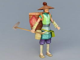 Ancient Rice Farmer 3d model