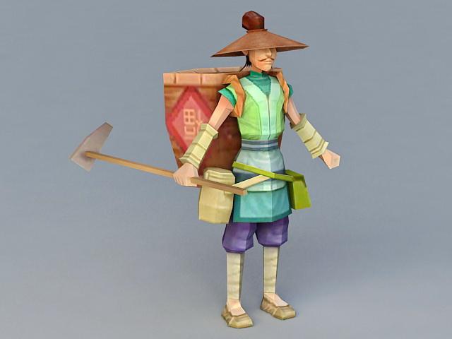 Ancient Rice Farmer 3d model