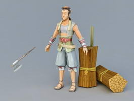 Ancient Woodcutter 3d model