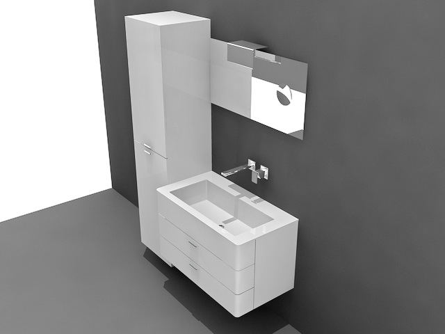 White Bathroom Vanity With Tall Cabinet 3d Model 3ds Max Autocad Files Free Download Modeling