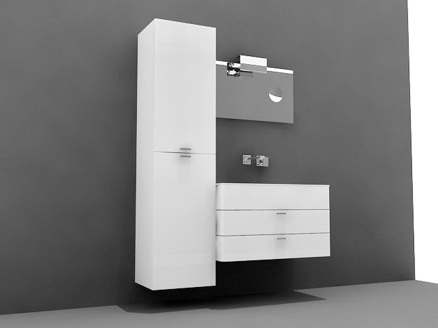 White Bathroom Vanity with Tall Cabinet 3d model