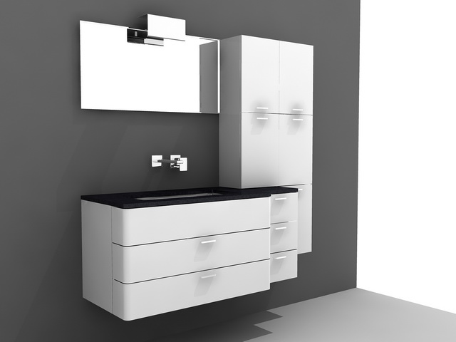 modern single sink bathroom vanity 3d model - Modern Single Sink Bathroom Vanities