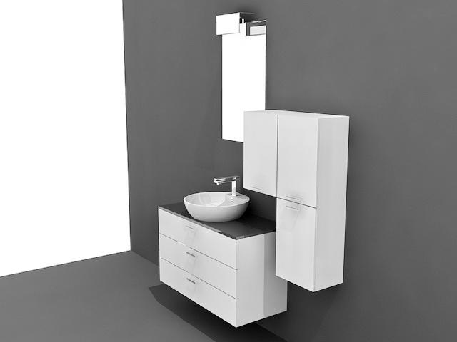 Small Modern Bathroom Vanities 3d Model 3ds MaxAutoCAD