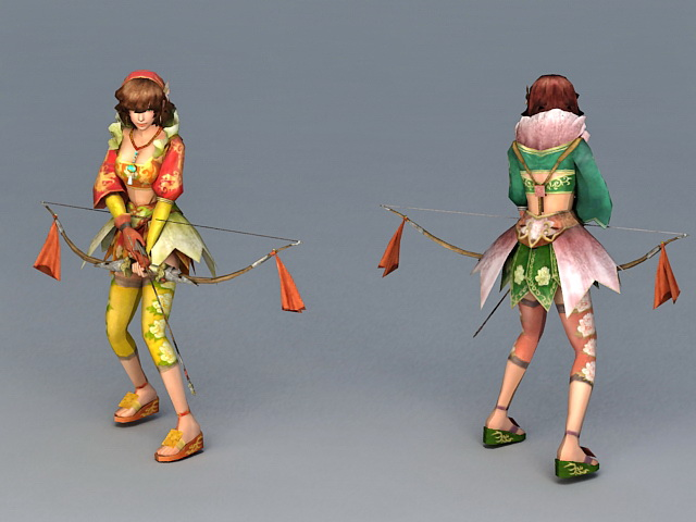 Girl Archer with Bow and Arrow 3d model