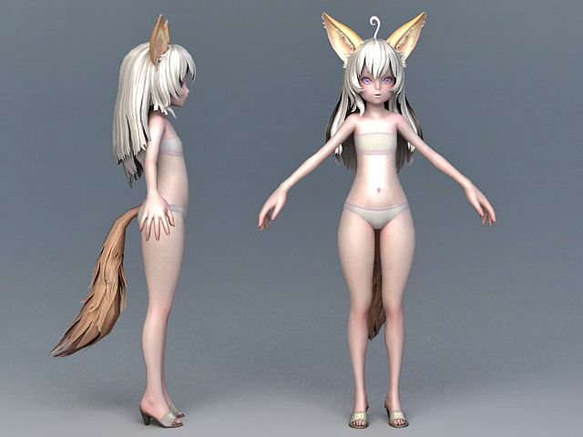 Anime Fox Girl 3d model 3ds Max,Maya,Object files free download