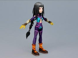 Anime Girl with Black Hair 3d model