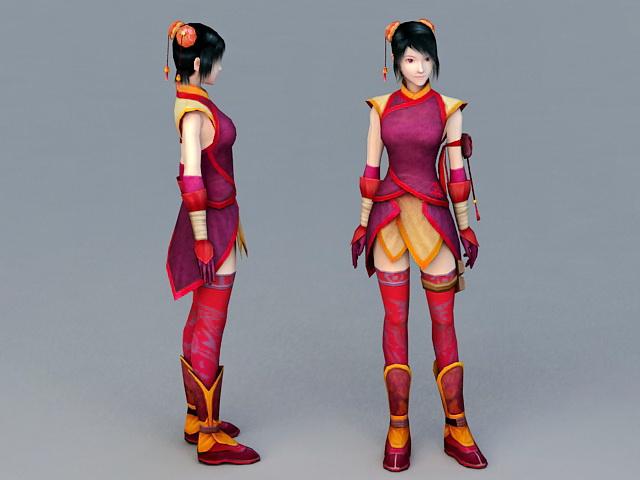 Anime Adventure Girl 3d model