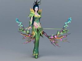 Female Forest Elven Archer 3d model
